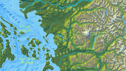 map salish sea showing straits victoria vancouver